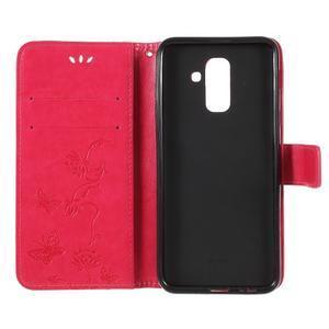 Butterfly PU kožené puzdro na Samsung Galaxy A6 Plus - rose - 5
