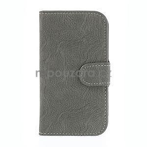 PU kožené peňaženkové puzdro pre Samsung Galaxy S4 - šedé - 5