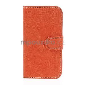 PU kožené peňaženkové puzdro pre Samsung Galaxy S4 - oranžové - 5