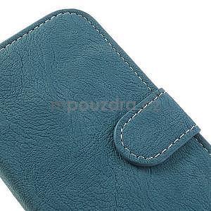 PU kožené peněženkové pouzdro na Samsung Galaxy S4 - modré - 5