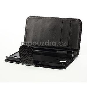 PU kožené peněženkové pouzdro s hadím motivem na Samsung Galaxy S4 - černé - 5