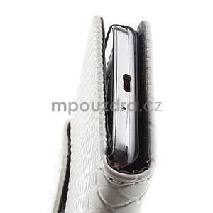 PU kožené peňaženkové puzdro s hadím motívom pre Samsung Galaxy S4 - biele - 5