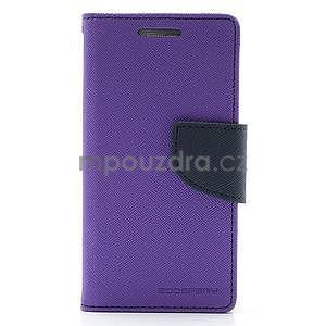 PU kožené peňaženkové puzdro pre Samsung Galaxy S4 mini - fialové - 5