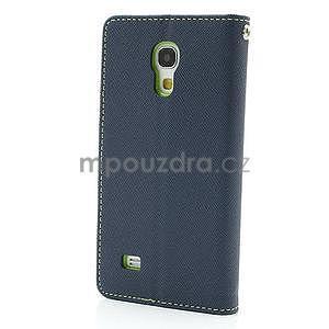 PU kožené peňaženkové puzdro pre Samsung Galaxy S4 mini - tmavo modré - 5