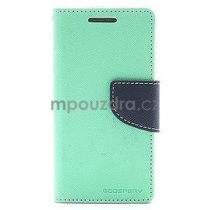 PU kožené peňaženkové puzdro pre Samsung Galaxy S4 mini - cyan - 5