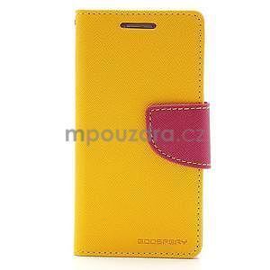 PU kožené peněženkové pouzdro na Samsung Galaxy S4 mini - žluté - 5