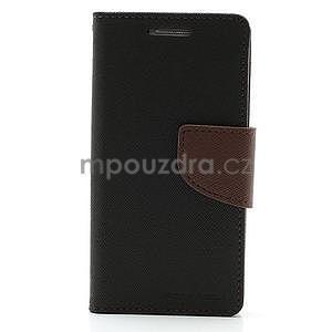 PU kožené peňaženkové puzdro pre Samsung Galaxy S4 mini - hnedé/čierne - 5