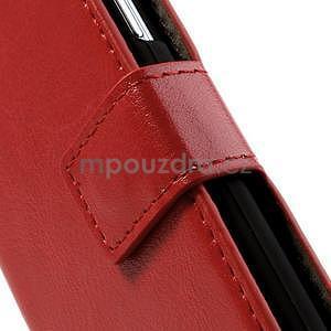 Peňaženkové kožené puzdro na Samsung Galaxy S4 mini - červené - 5