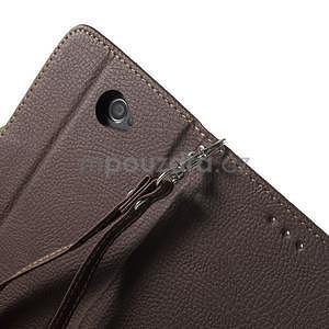PU kožené lístkové pouzdro pro Sony Xperia E4 - hnědé - 5