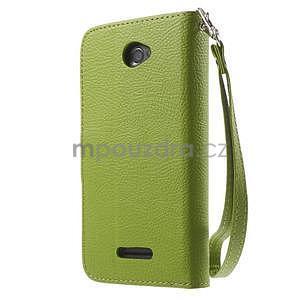 PU kožené lístkové pouzdro pro Sony Xperia E4 - zelené - 5