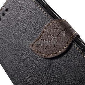 PU kožené lístkové pouzdro pro Sony Xperia E4 - černé - 5