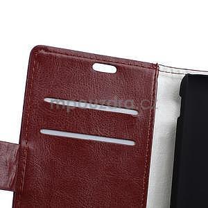 Peněženkové PU kožené pouzdro Sony Xperia E4 - tmavě hnědé - 5