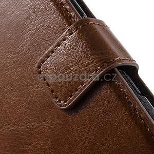 PU kožené peňaženkové puzdro pre mobil Sony Xperia E4 - hnedé - 5