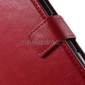 PU kožené peňaženkové puzdro pre mobil Sony Xperia E4 - červené - 5