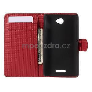 Peněženkové pouzdro s motýlkem na Sony Xperia E4 - červené - 5