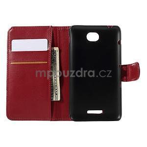 Peňaženkové PU kožené puzdro pre Sony Experia E4 - červené - 5