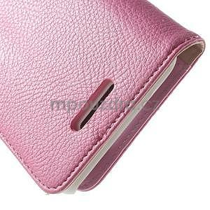 Koženkové pouzdro pro Sony Xperia E4 - růžové - 5