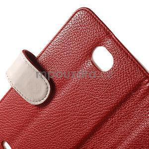 Koženkové puzdro pre Sony Xperia E4 - červené - 5