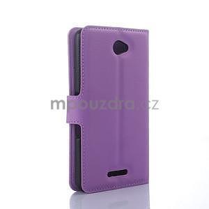PU kožené Peňaženkové puzdro pre mobil Sony Xperia E4 - fialové - 5
