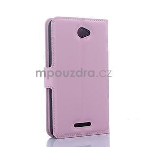 PU kožené Peňaženkové puzdro pre mobil Sony Xperia E4 - ružové - 5