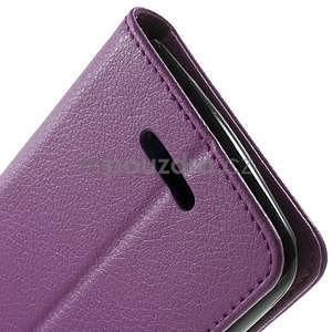 PU kožené peněženkové pouzdro na Sony Xperia E4 - fialové - 5