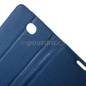 PU kožené peněženkové pouzdro na Sony Xperia E4 - modré - 5
