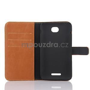 PU kožené PU Peňaženkové puzdro pre Sony Xperia E4 - hnedé - 5