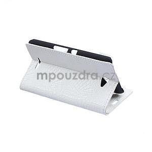Puzdro s krokodýlím vzorem na Sony Xperia E4 - bílé - 5