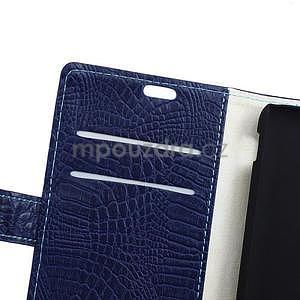Puzdro s krokodýlím vzorem na Sony Xperia E4 - tmavě modré - 5