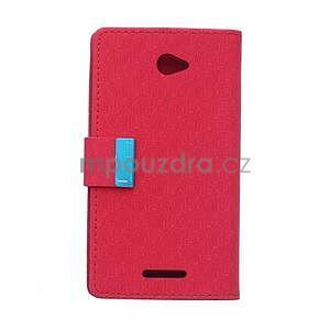 Vzorované peňaženkové puzdro pre Sony Xperia E4 - červené - 5