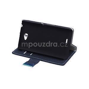 Vzorované peňaženkové puzdro pre Sony Xperia E4 - tmavomodré - 5