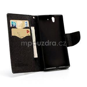 Peňaženkové PU kožené puzdro pre Sony Xperia Z - čierne - 5