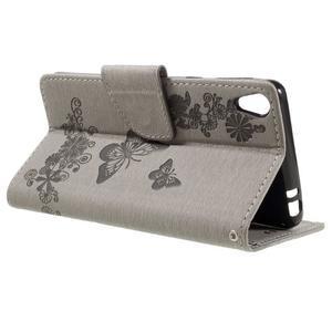 Butterfly PU kožené puzdro na Sony Xperia E5 - šedé - 5