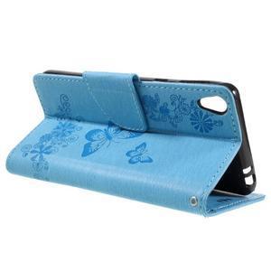 Butterfly PU kožené puzdro na Sony Xperia E5 - světledmodré - 5