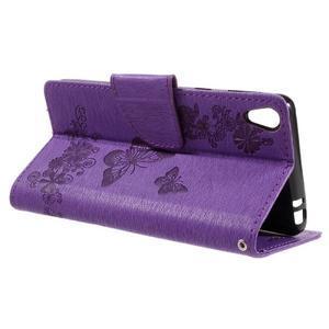 Butterfly PU kožené puzdro na Sony Xperia E5 - fialové - 5