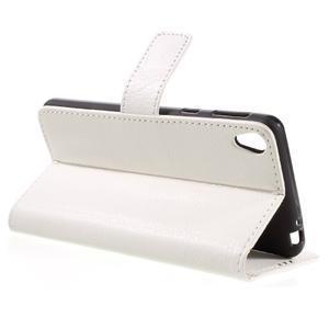Leathy PU kožené puzdro na Sony Xperia E5 - biele - 5
