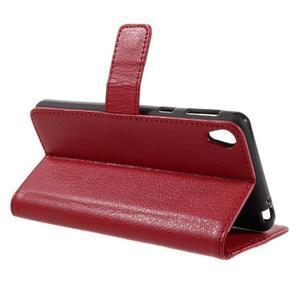 Leathy PU kožené puzdro na Sony Xperia E5 - červené - 5