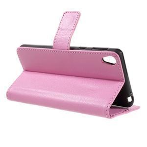 Leathy PU kožené puzdro pre Sony Xperia E5 - ružové - 5