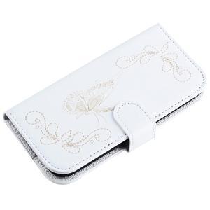 Motýlikové PU kožené puzdro na mobil Sony Xperia E5 - biele - 5