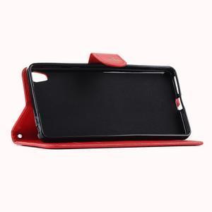 motýľikové PU kožené puzdro pre mobil Sony Xperia E5 - červené - 5