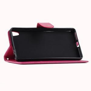 Motýlikové PU kožené puzdro na mobil Sony Xperia E5 - rose - 5