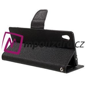 Diary PU kožené puzdro pre mobil Sony Xperia XA Ultra - čierne - 5