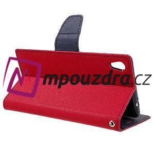 Diary PU kožené puzdro pre mobil Sony Xperia XA Ultra - červené - 5