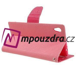 Diary PU kožené puzdro pre mobil Sony Xperia XA Ultra - ružové - 5