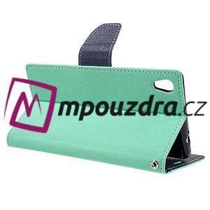 Diary PU kožené puzdro pre mobil Sony Xperia XA Ultra - azurové - 5
