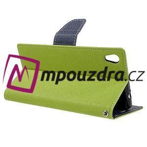 Diary PU kožené puzdro pre mobil Sony Xperia XA Ultra - zelené - 5
