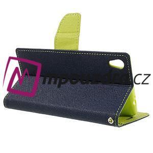 Diary PU kožené puzdro pre mobil Sony Xperia XA Ultra - tmavomodré - 5