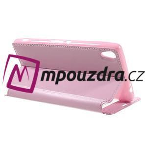 Richi PU kožené puzdro s okienkom na Sony Xperia XA Ultra - ružové - 5