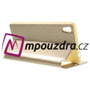 Richi PU kožené pouzdro s okýnkem na Sony Xperia XA Ultra - zlaté - 5