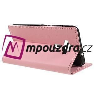 Leathy peňaženkové puzdro na Asus Zenfone 3 ZE520KL - růžové - 5
